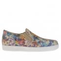 Chaussure pour femmes avec elastiques en cuir imprimé floral talon compensé 2