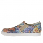 Woman's shoe with elastic bands in floral printed leather wedge 2