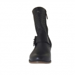 Woman's boot with buckle in black pierced leather  - Available sizes:  32