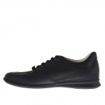Men's laced sports shoe in black leather