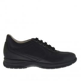Zapato deportivo con cordones para hombre en piel negra - Tallas disponibles: 36
