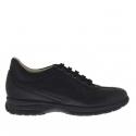 Chaussure pour hommes sportif avec lacets en cuir noir