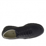 Men's sports shoe with laces in black leather - Available sizes:  36