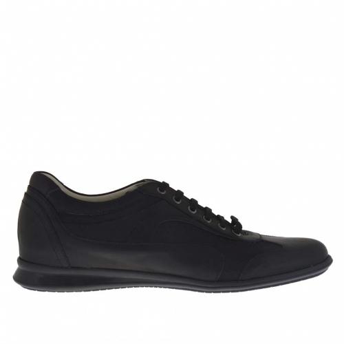 Chaussure sportif pour hommes avec lacets en cuir et tissu noir - Pointures disponibles:  46
