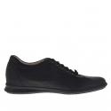 Chaussure sportif pour hommes avec lacets en cuir et tissu noir