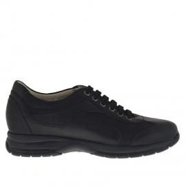 Zapato deportivo para hombre con cordones en piel y tejido negro - Tallas disponibles: 36, 37