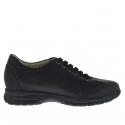 Chaussure sportif avec lacets pour hommes en cuir et tissu noir
