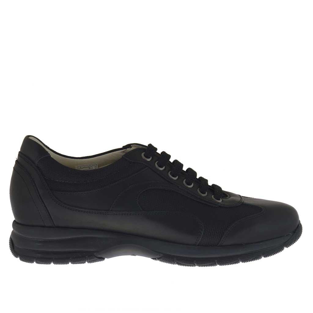chaussure sportif avec lacets pour hommes en cuir et tissu noir ghigocalzature. Black Bedroom Furniture Sets. Home Design Ideas