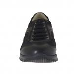 Chaussure sportif avec lacets pour hommes en cuir et tissu noir - Pointures disponibles:  36