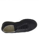Men's sports shoe with laces in black leather and fabric - Available sizes:  36