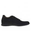 Chaussure sportif pour hommes avec lacets en nubuck, cuir et tissu noir