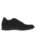 Men's laced sports shoe in black nubuck, leather and fabric