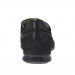 Chaussure sportif pour hommes avec lacets en nubuck, cuir et tissu noir - Pointures disponibles:  46, 47