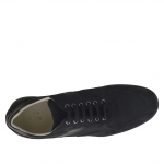 Men's laced sports shoe in black nubuck, leather and fabric - Available sizes:  46, 47