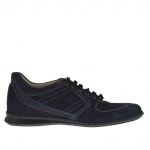 Men's laced sports shoe in blue suede and leather