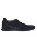 Chaussure sportif avec lacets en daim et cuir bleu