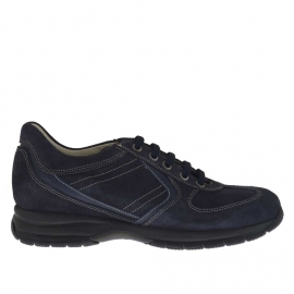 Men's sports shoe with laces in blue suede and leather