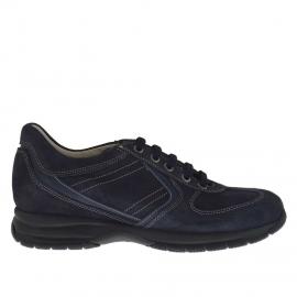 Zapato deportivo para hombre con cordones en gamuza y piel azul - Tallas disponibles: 36, 37