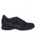 Chaussure pour hommes sportif avec lacets en daim et cuir bleu
