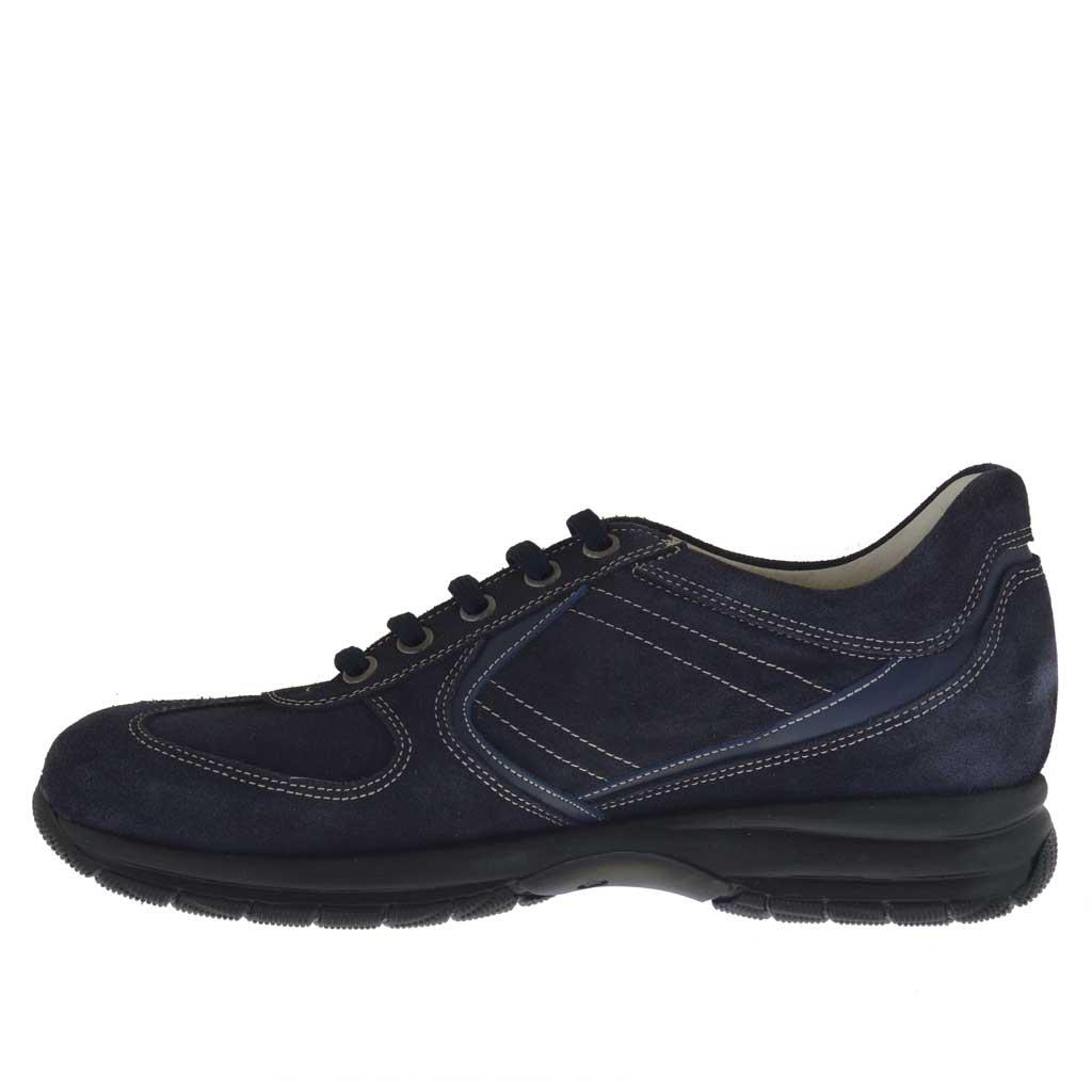 chaussure pour hommes sportif avec lacets en daim et cuir bleu ghigocalzature. Black Bedroom Furniture Sets. Home Design Ideas