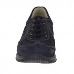 Chaussure pour hommes sportif avec lacets en daim et cuir bleu  - Pointures disponibles:  36, 37