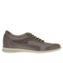 Men's laced sports shoe in smoke leather and grey fabric