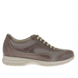 Men's sports shoe with laces in smoke leather and grey fabric