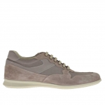 Chaussure sportif pour hommes avec lacets en daim et tissu gris tourterelle - Pointures disponibles:  50