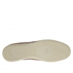 Men's laced sports shoe in dove grey suede and fabric