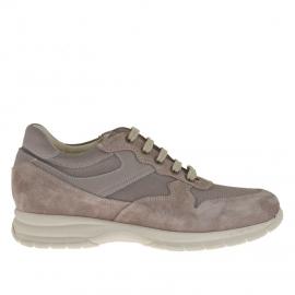 Zapato deportivo con cordones para hombre en gamuza y tela gris perla - Tallas disponibles: 36, 37
