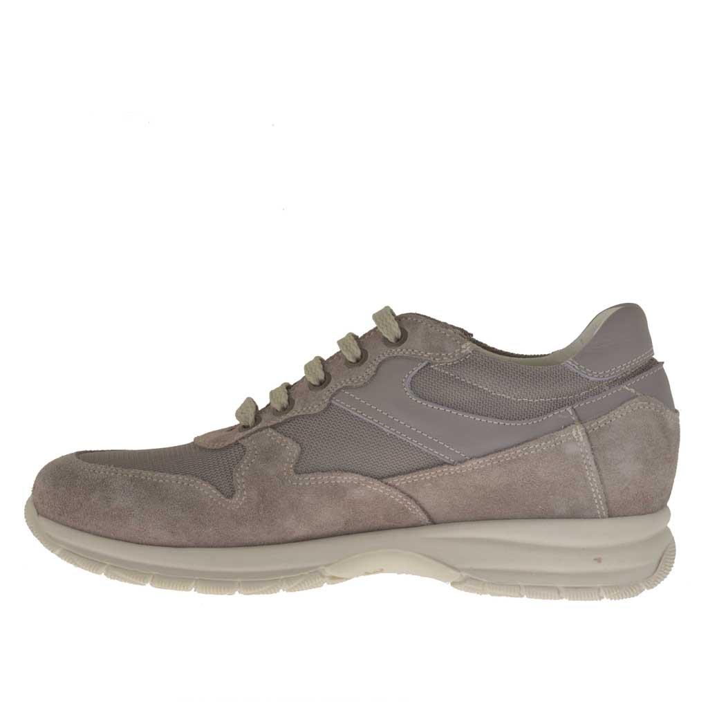chaussure pour hommes sportif avec lacets en daim et tissu gris tourterelle ghigocalzature. Black Bedroom Furniture Sets. Home Design Ideas