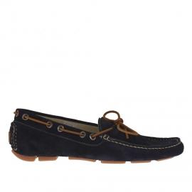 Mocasino para hombres con cordones en gamuza azul - Tallas disponibles: 36