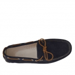 Men's laced car shoe in blue suede