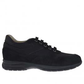 Zapato deportivo con cordones para hombre en gamuza y tejido negro - Tallas disponibles:  36, 37, 38