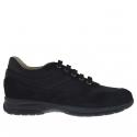 Chaussure sportif pour hommes avec lacets en daim et tissu noir