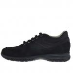 Chaussure sportif pour hommes avec lacets en daim et tissu noir - Pointures disponibles:  36, 37