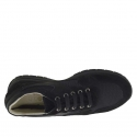 Men's laced sports shoe in black suede and fabric - Available sizes:  36, 37