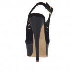 Woman's platform sandal in black leather and suede heel 13