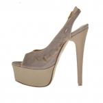 Woman's platform sandal in mud-coloured leather and taupe suede heel 13