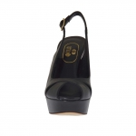 Woman's sandal in black leather with platform and heel 12