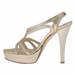 Woman's sandal in platinum laminated leather with platform and heel 12