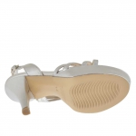 Woman's sandal in silver leather with platform and heel 12