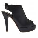 Sandale pour femmes avec lacets en cuir noir avec plateforme et talon 12