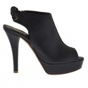 Woman's laced sandal in black leather with platform and heel 12