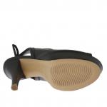 Sandale pour femmes avec lacets en cuir noir avec plateforme et talon 12 - Pointures disponibles:  31, 42