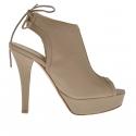 Sandale pour femmes avec lacets en cuir taupe avec plateforme et talon 12