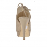 Woman's laced sandal in taupe leather with platform and heel 12