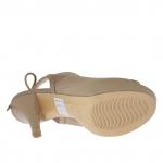 Sandale pour femmes avec lacets en cuir taupe avec plateforme et talon 12 - Pointures disponibles:  31