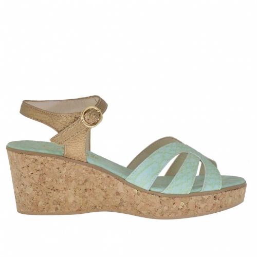Woman's strap sandal in snake-skin printed aquamarine and bronze leather with cork platform and wedge 6