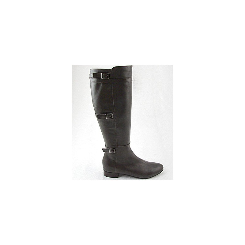 Woman's boot with zipper and buckles in dark brown leather heel 2 - Available sizes:  32, 33
